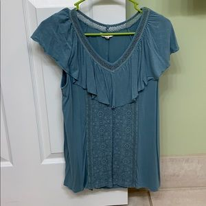 Blouse with lace overlay